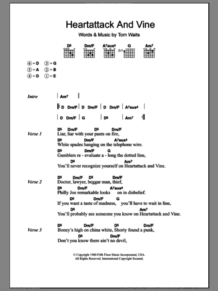 Heartattack And Vine sheet music for guitar (chords) by Tom Waits, intermediate. Score Image Preview.
