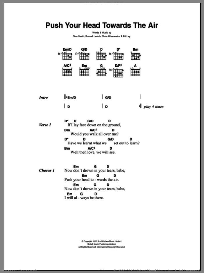Push Your Head Towards The Air sheet music for guitar (chords) by Editors, Chris Urbanowicz, Ed Lay, Russell Leetch and Tom Smith, intermediate skill level
