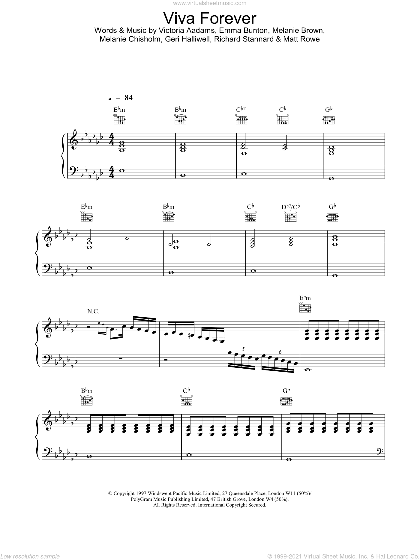 Viva Forever sheet music for voice, piano or guitar by The Spice Girls. Score Image Preview.