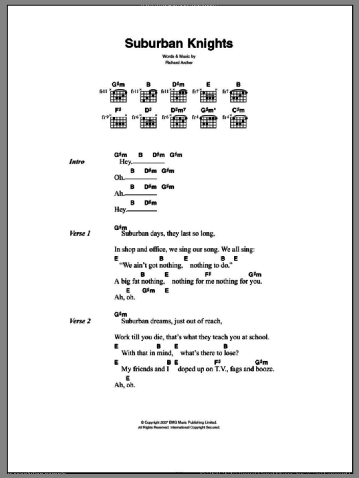 Suburban Knights sheet music for guitar (chords) by Hard-Fi and Richard Archer, intermediate. Score Image Preview.