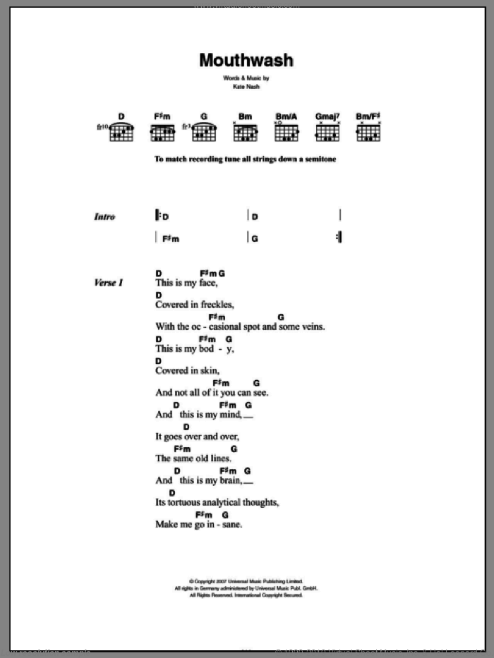 Mouthwash sheet music for guitar (chords) by Kate Nash. Score Image Preview.
