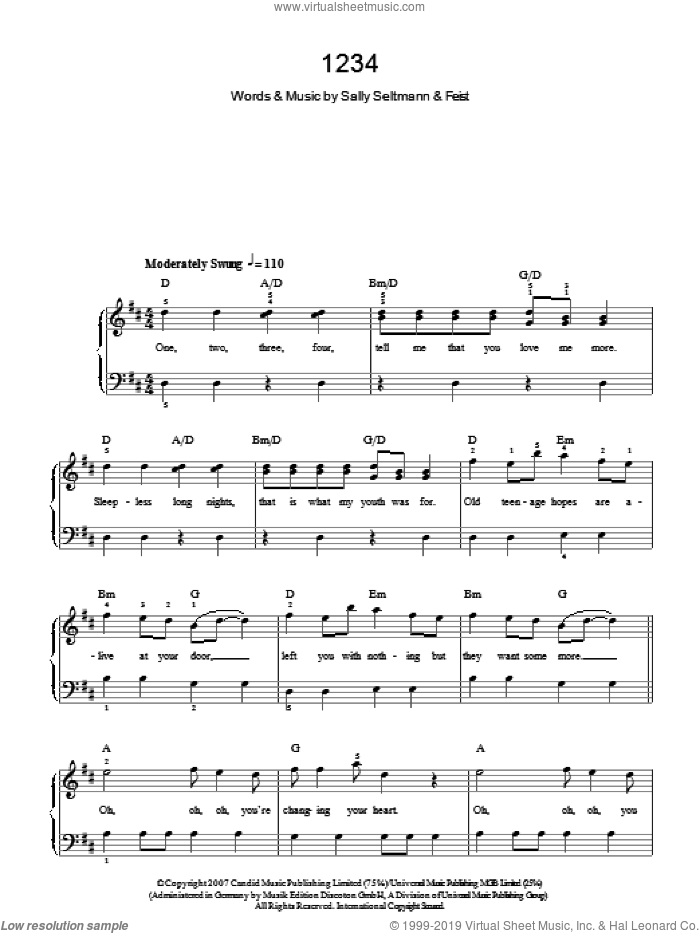 1234 sheet music for piano solo by Leslie Feist and Sally Seltmann, easy skill level