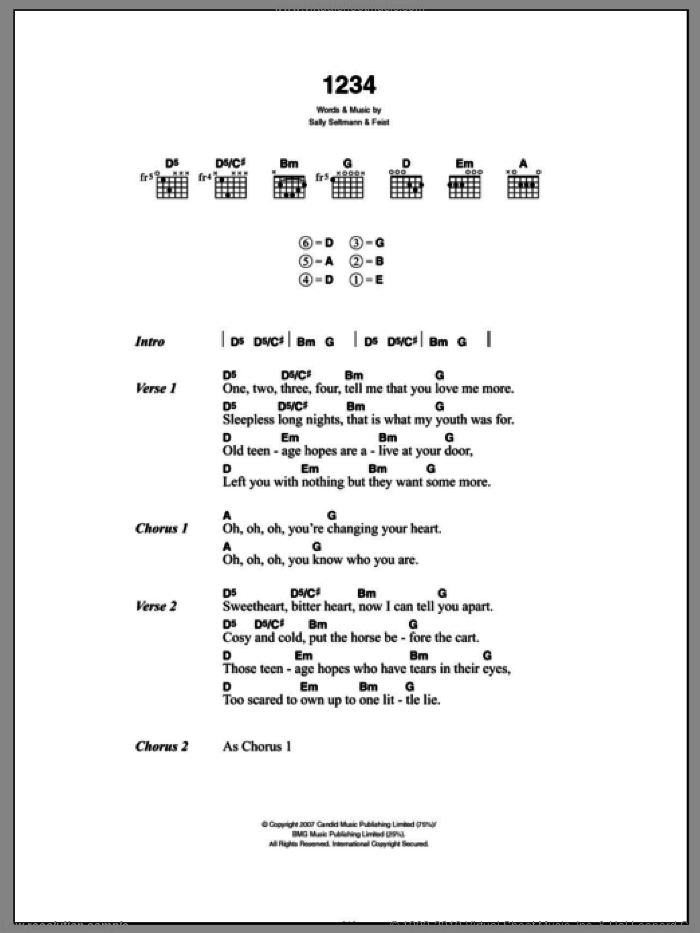 1234 sheet music for guitar (chords) by Sally Seltmann