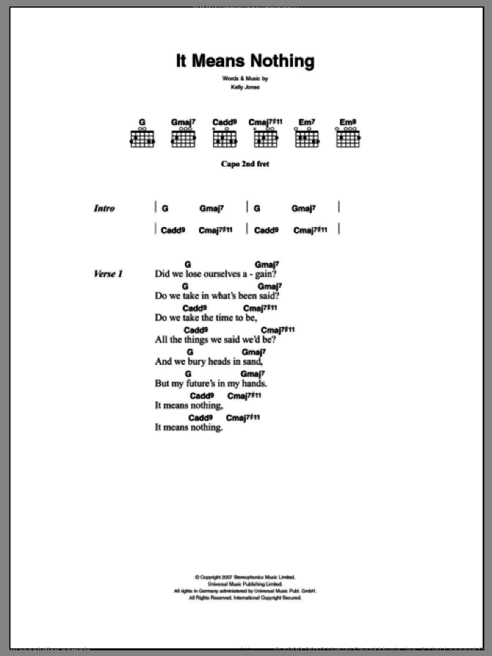 It Means Nothing sheet music for guitar (chords) by Stereophonics and Kelly Jones, intermediate skill level