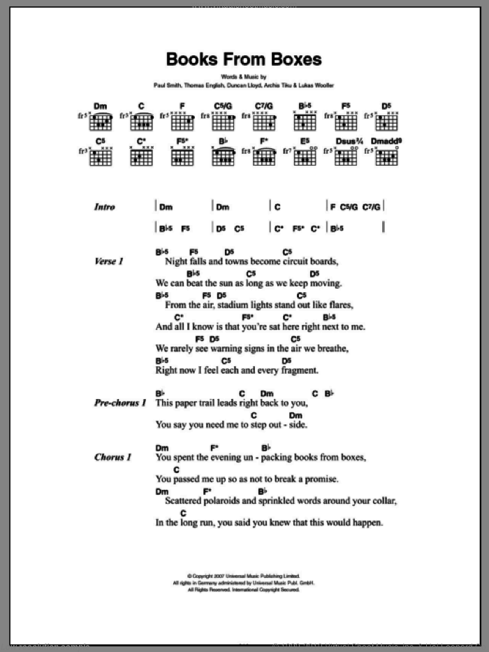 Books From Boxes sheet music for guitar (chords) by Thomas English, Archis Tiku and Paul Smith. Score Image Preview.