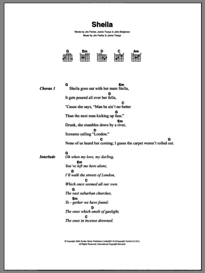 Sheila sheet music for guitar (chords) by Jamie T, Jamie Treays, Jim Parker and John Betjeman, intermediate skill level