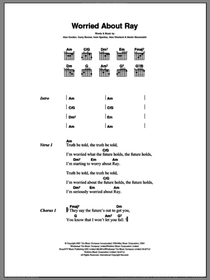 Worried About Ray sheet music for guitar (chords) by Martin Skarendahl, Alan Gordon, Alan Sharland and Garry Bonner. Score Image Preview.
