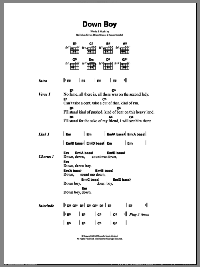 Down Boy sheet music for guitar (chords) by Yeah Yeah Yeahs, Brian Chase, Karen Orzolek and Nick Zinner, intermediate skill level