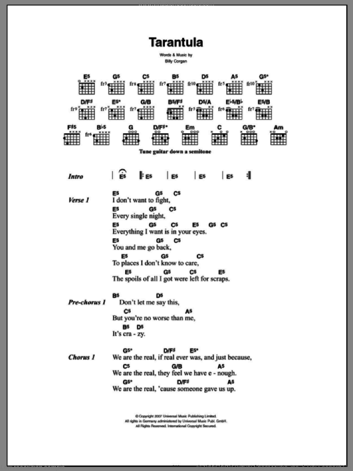 Tarantula sheet music for guitar (chords) by Billy Corgan and The Smashing Pumpkins. Score Image Preview.