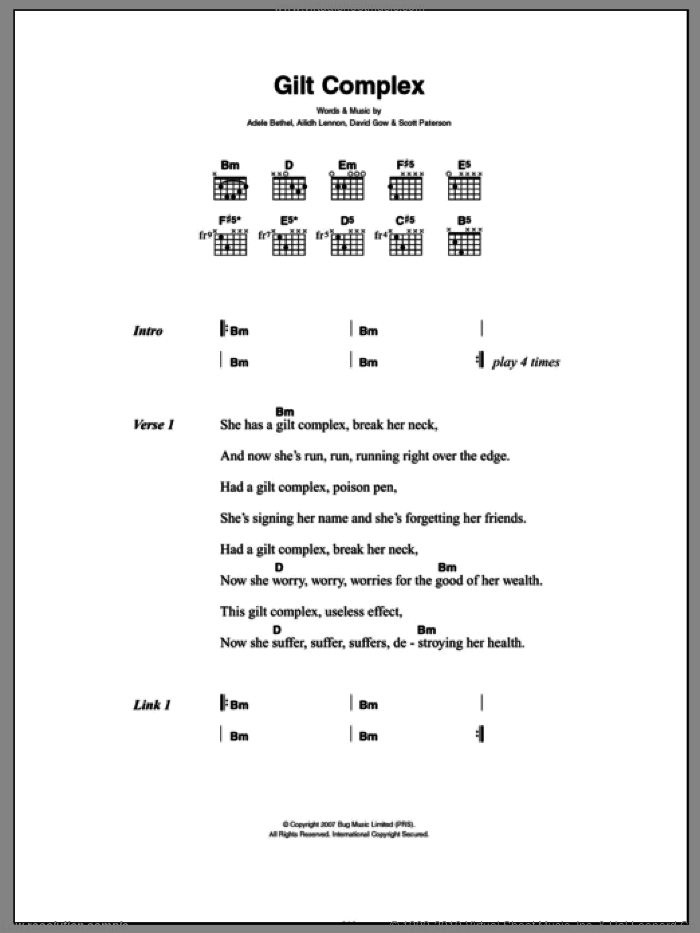 Gilt Complex sheet music for guitar (chords, lyrics, melody) by Scott Paterson