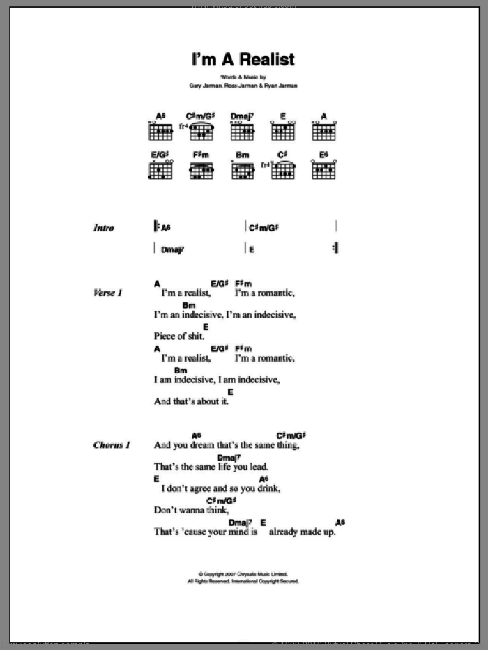 I'm A Realist sheet music for guitar (chords) by Ryan Jarman