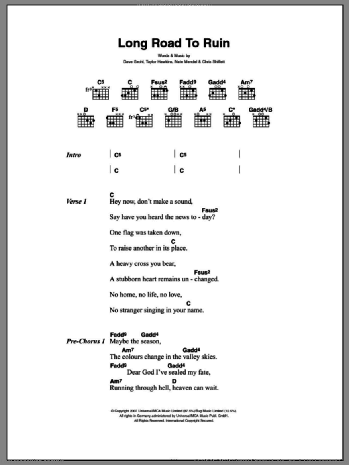 Long Road To Ruin sheet music for guitar (chords) by Taylor Hawkins, Foo Fighters, Chris Shiflett, Dave Grohl and Nate Mendel. Score Image Preview.