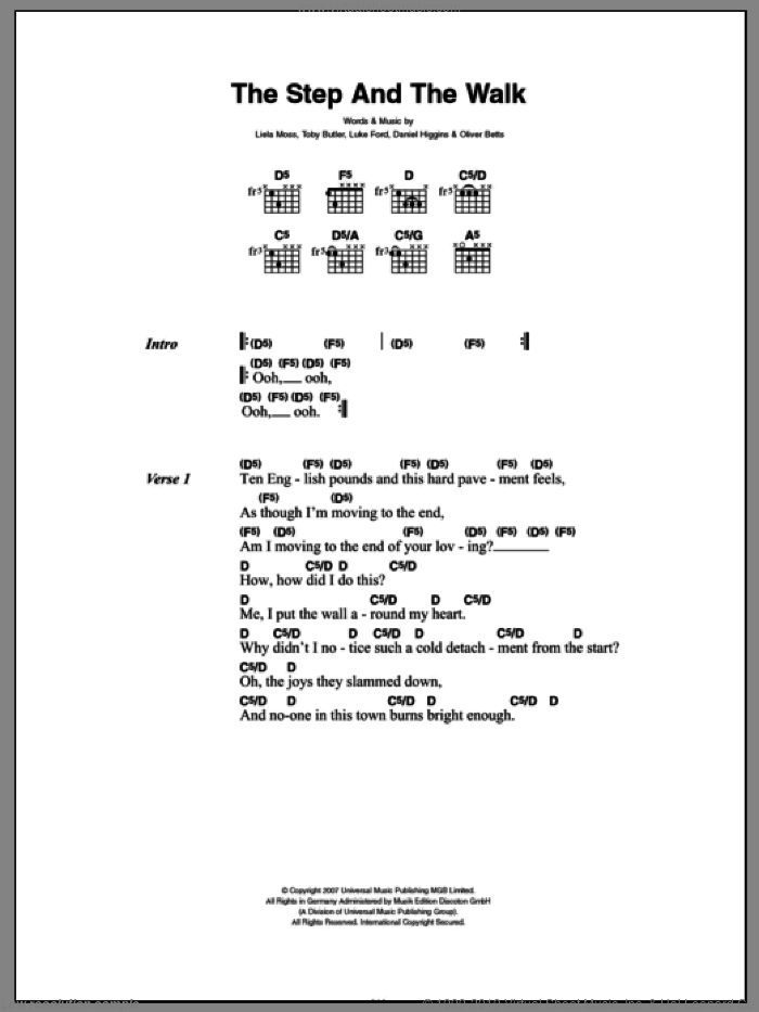 The Step And The Walk sheet music for guitar (chords) by Toby Butler. Score Image Preview.