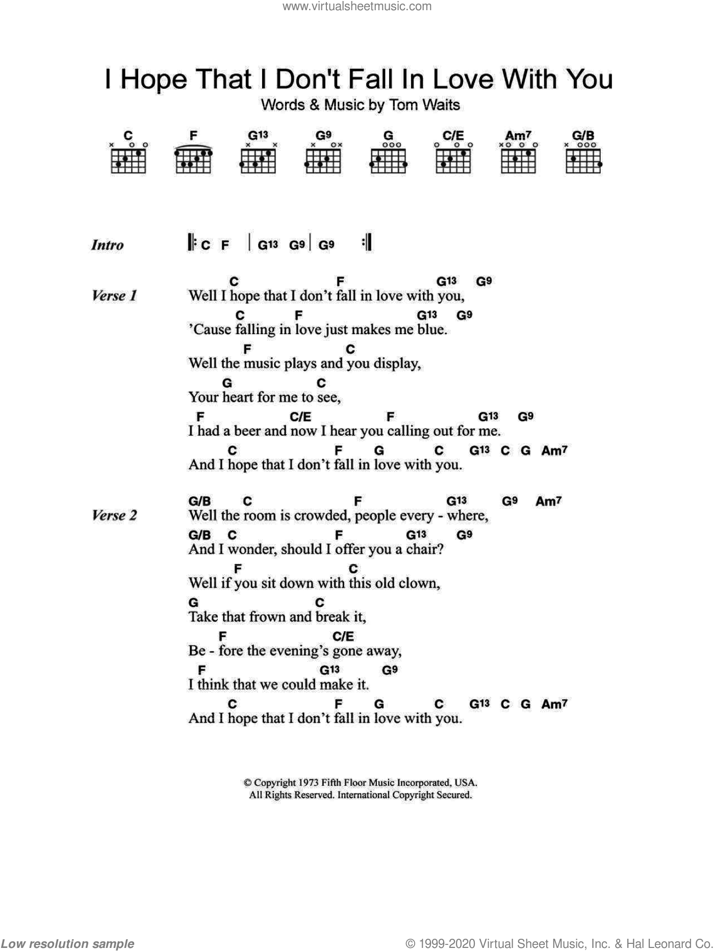 I Hope That I Don't Fall In Love With You sheet music for guitar (chords) by Tom Waits