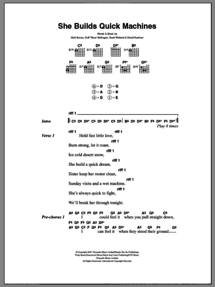 She Builds Quick Machines sheet music for guitar (chords, lyrics, melody) by Slash