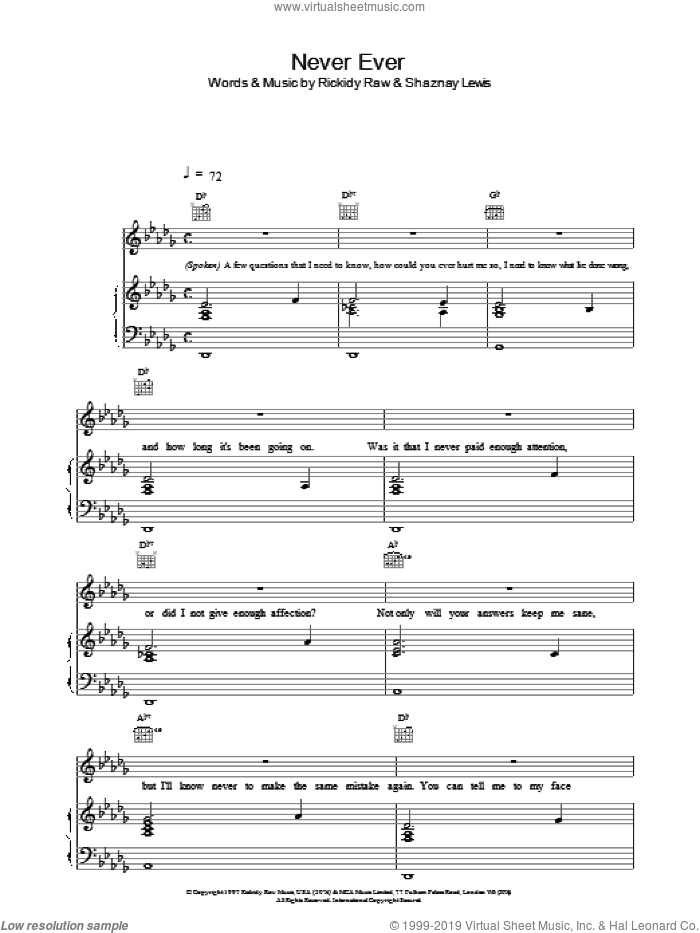 Never Ever sheet music for voice, piano or guitar by All Saints. Score Image Preview.