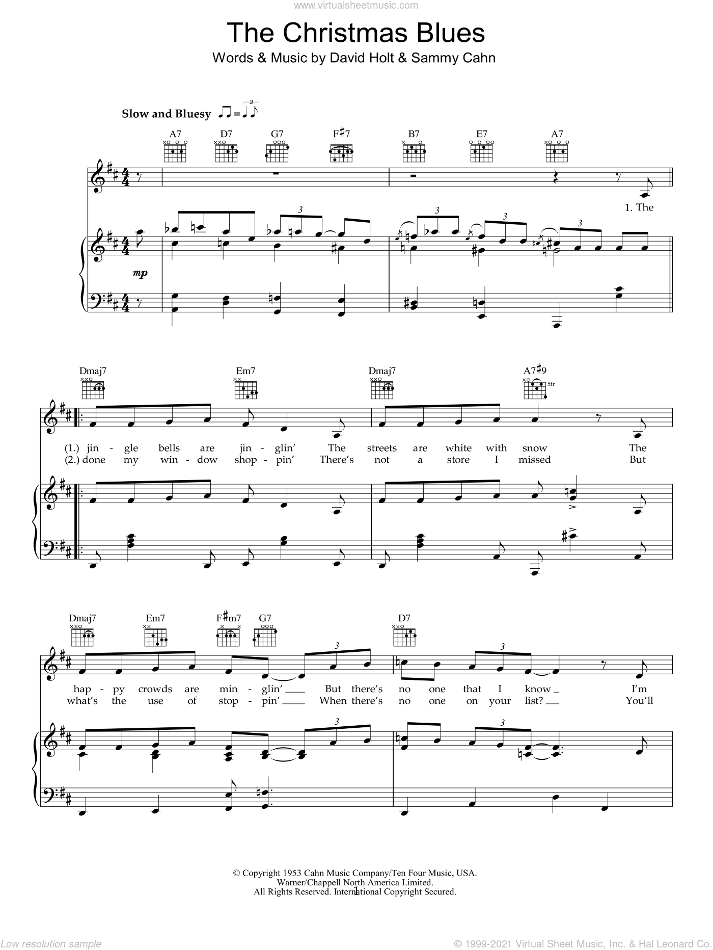 Dylan - The Christmas Blues sheet music for voice, piano or guitar