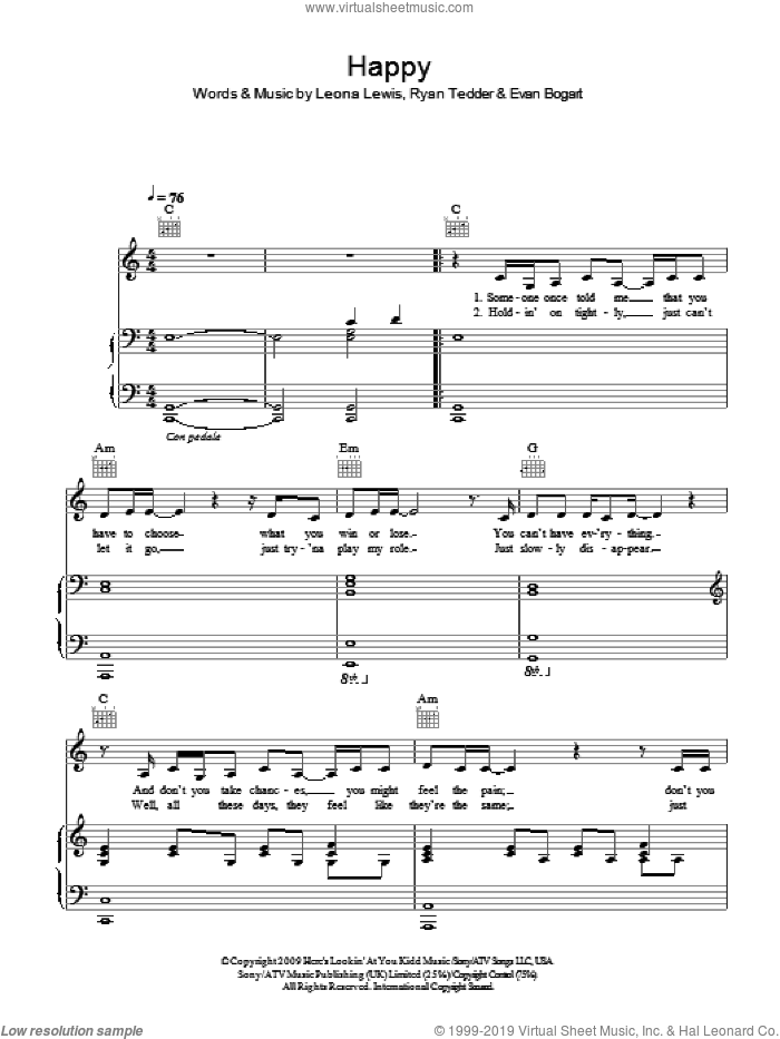 Happy sheet music for voice, piano or guitar by Leona Lewis, Evan Bogart and Ryan Tedder, intermediate. Score Image Preview.