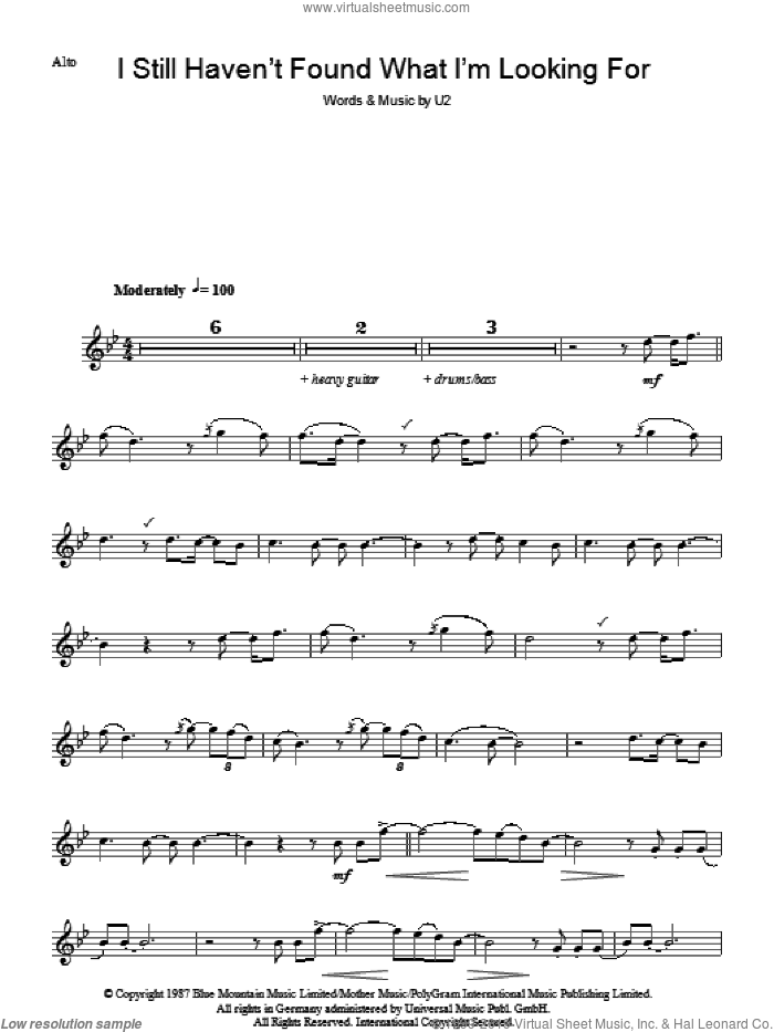 I Still Haven't Found What I'm Looking For sheet music for voice and other instruments (fake book) by U2, intermediate skill level