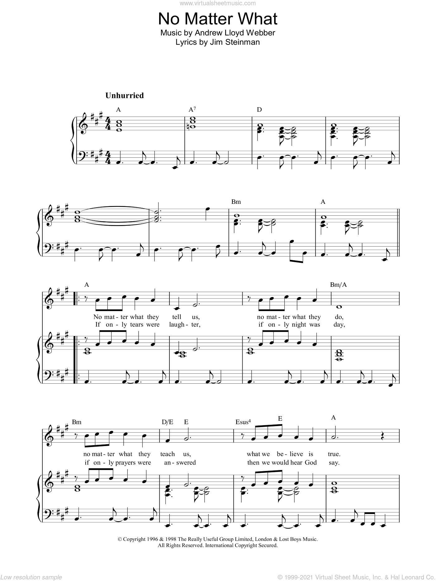 No Matter What sheet music for voice, piano or guitar by Boyzone, intermediate voice, piano or guitar. Score Image Preview.