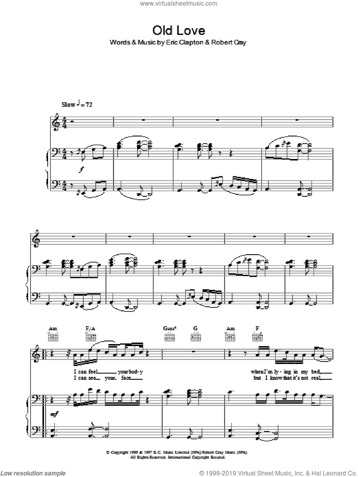Old Love sheet music for voice, piano or guitar by Eric Clapton and Robert Cray, intermediate. Score Image Preview.