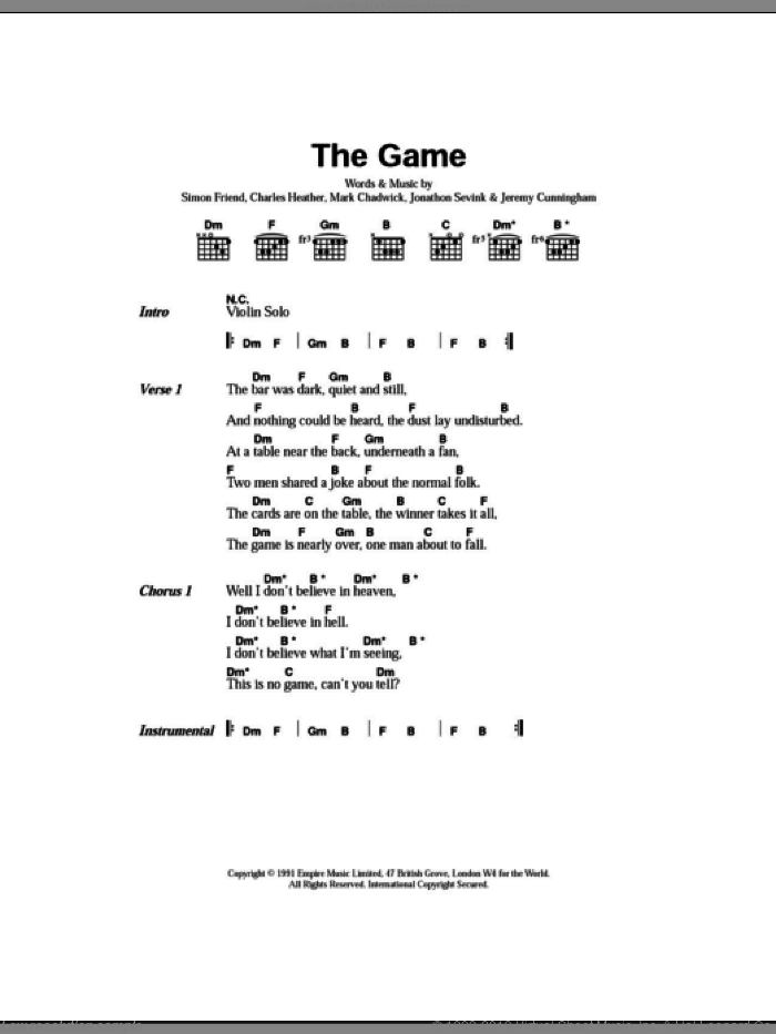 The Game sheet music for guitar (chords) by The Levellers, intermediate. Score Image Preview.