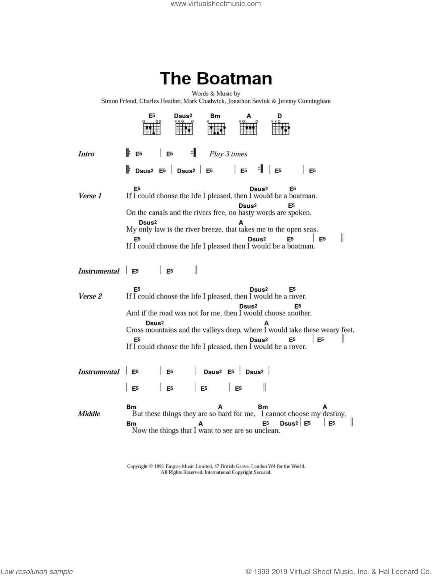 The Boatman sheet music for guitar (chords) by Simon Friend