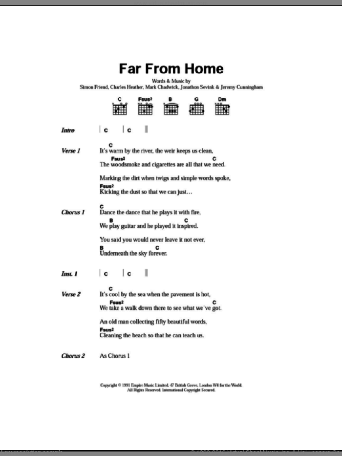 Far From Home sheet music for guitar (chords) by The Levellers, Charles Heather, Jeremy Cunningham, Jonathan Sevink, Mark Chadwick and Simon Friend, intermediate skill level