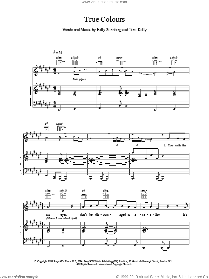 True Colours sheet music for voice, piano or guitar by Phil Collins, intermediate skill level