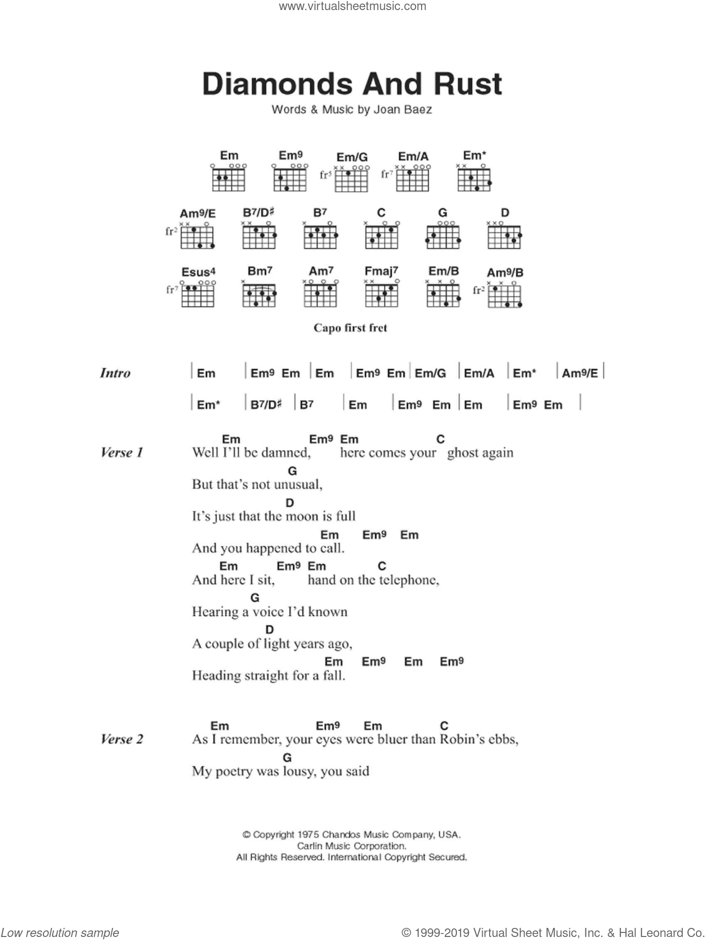 Diamonds And Rust sheet music for guitar (chords) by Joan Baez. Score Image Preview.