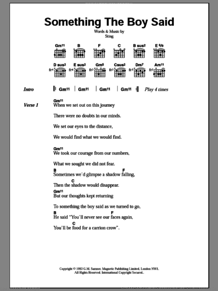 Something The Boy Said sheet music for guitar (chords) by Sting, intermediate guitar (chords). Score Image Preview.