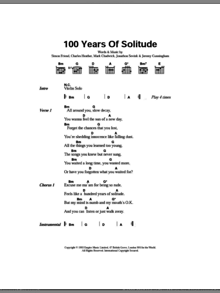 100 Years Of Solitude sheet music for guitar (chords, lyrics, melody) by Simon Friend