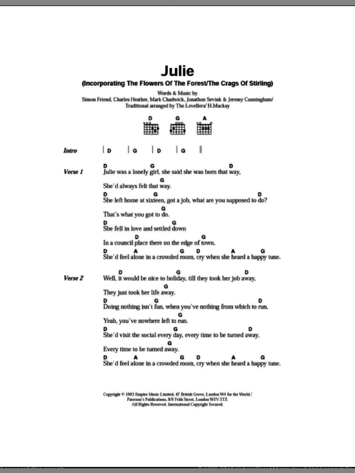 Julie sheet music for guitar (chords) by Simon Friend, The Levellers and Charles Heather