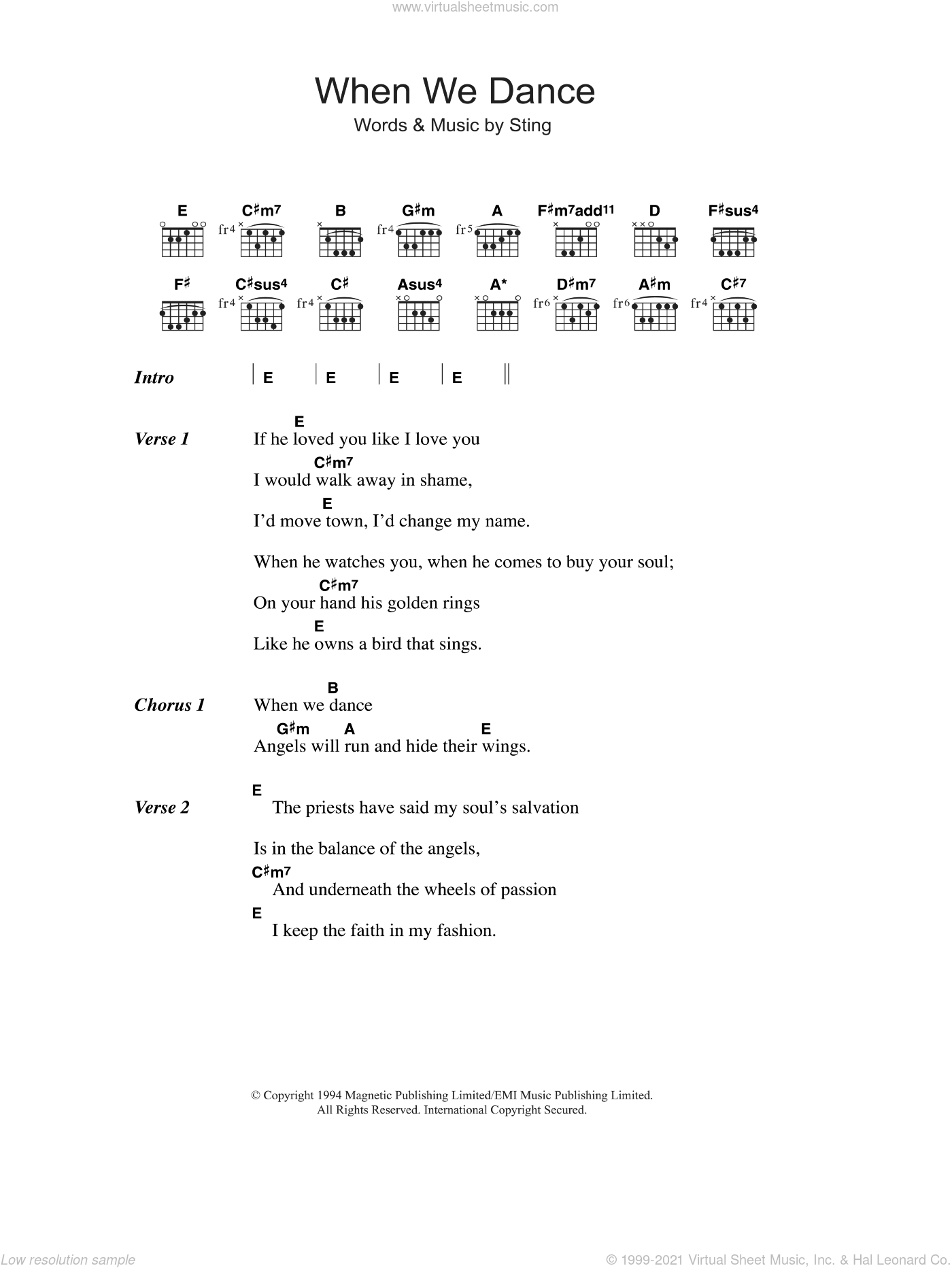 When We Dance sheet music for guitar (chords) by Sting, intermediate skill level