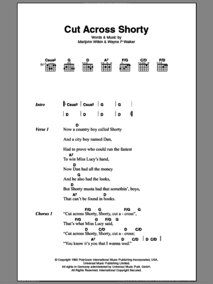 Cut Across Shorty sheet music for guitar (chords, lyrics, melody) by Wayne Walker
