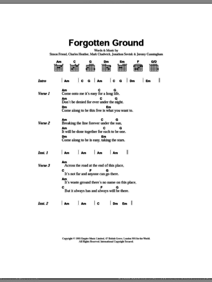 Forgotten Ground sheet music for guitar (chords) by Simon Friend