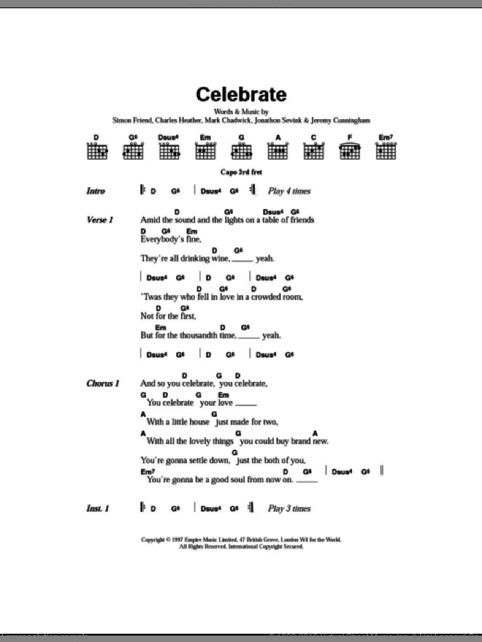Celebrate sheet music for guitar (chords) by The Levellers, intermediate. Score Image Preview.
