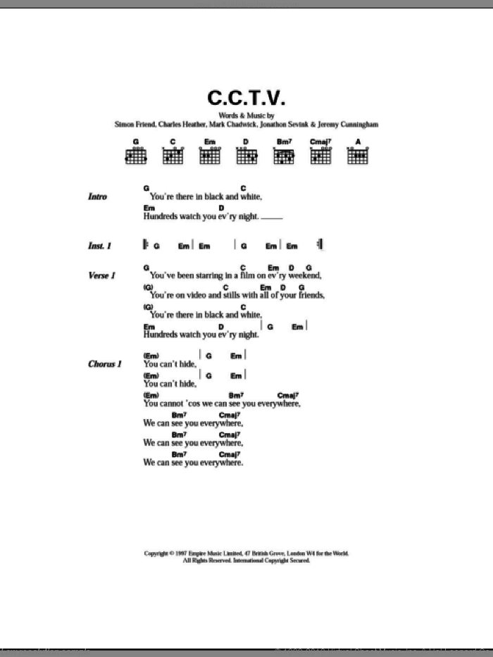 C.C.T.V sheet music for guitar (chords) by Simon Friend and The Levellers. Score Image Preview.