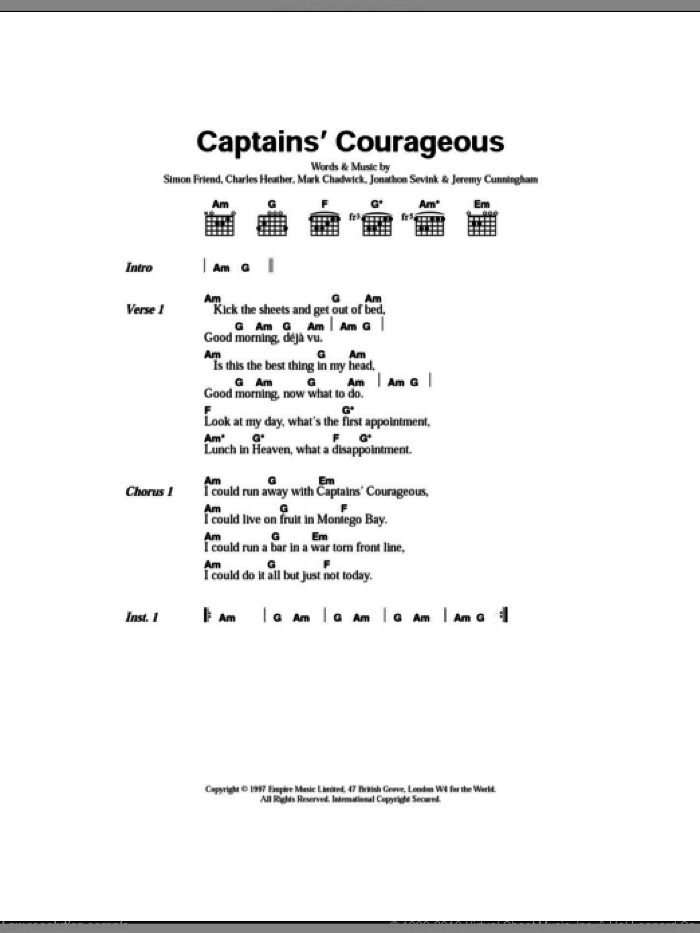 Captain's Courageous sheet music for guitar (chords) by Simon Friend, The Levellers and Charles Heather. Score Image Preview.