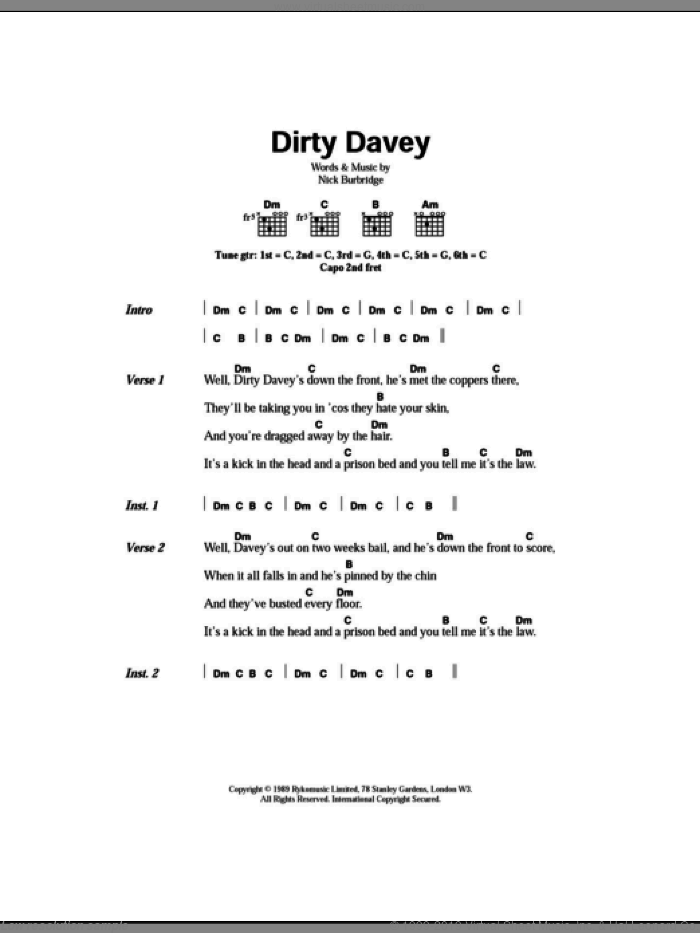 Dirty Davey sheet music for guitar (chords) by Nick Burbridge and The Levellers. Score Image Preview.