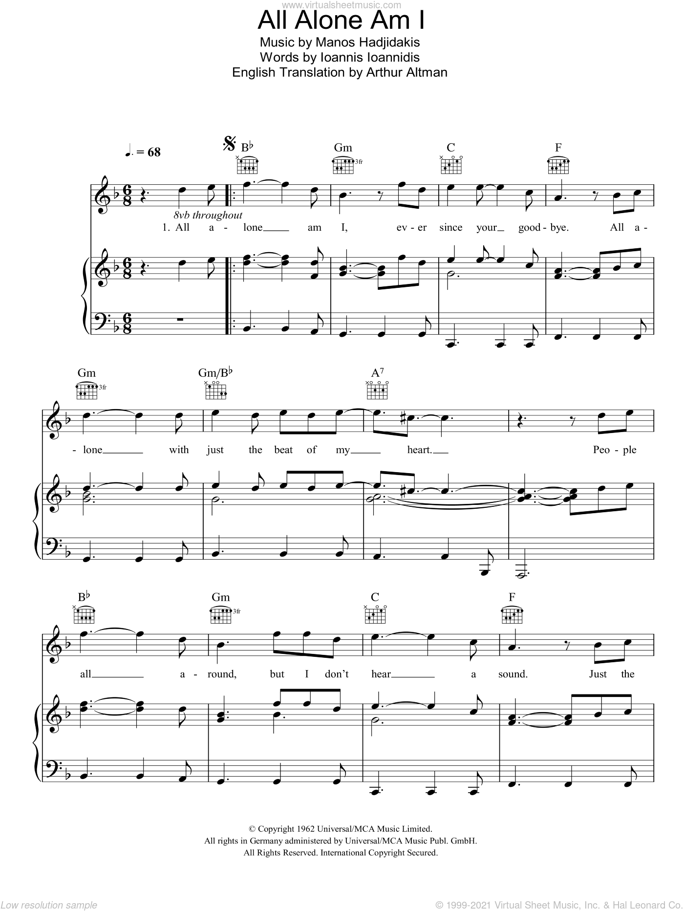 All Alone Am I sheet music for voice, piano or guitar by Manos Hadjidakis, Brenda Lee and Arthur Altman. Score Image Preview.
