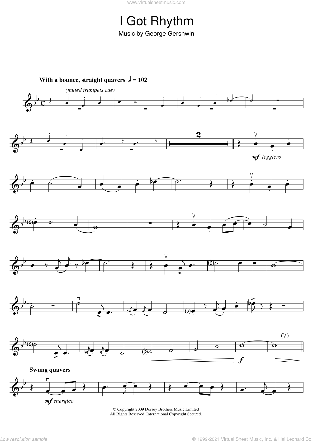 I Got Rhythm sheet music for violin solo by George Gershwin, intermediate skill level