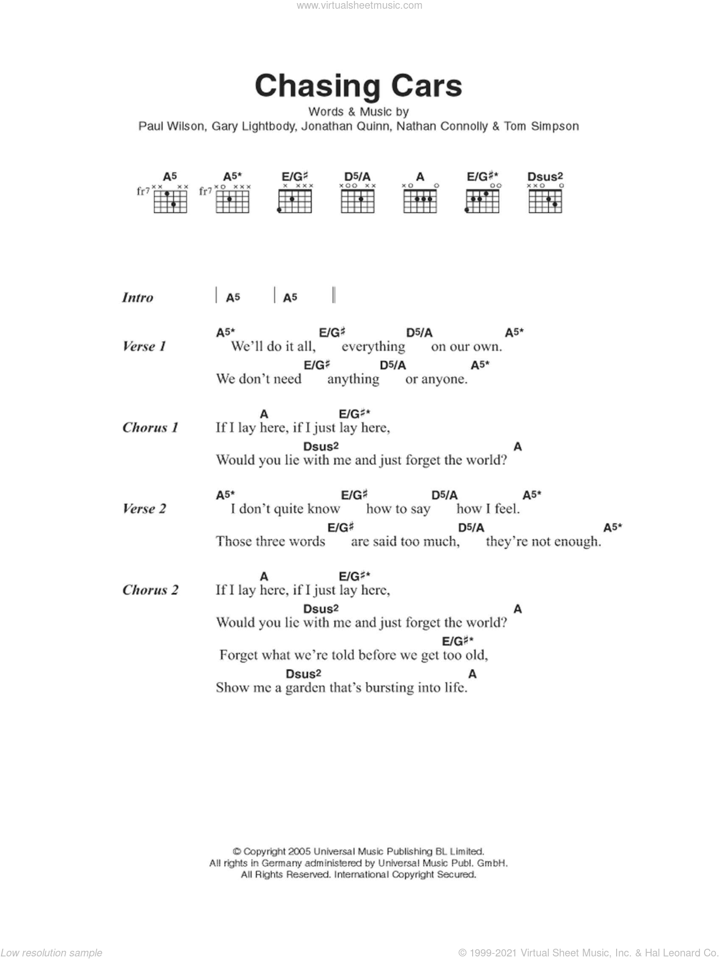 Chasing Cars sheet music for guitar (chords) by Snow Patrol, intermediate guitar (chords). Score Image Preview.