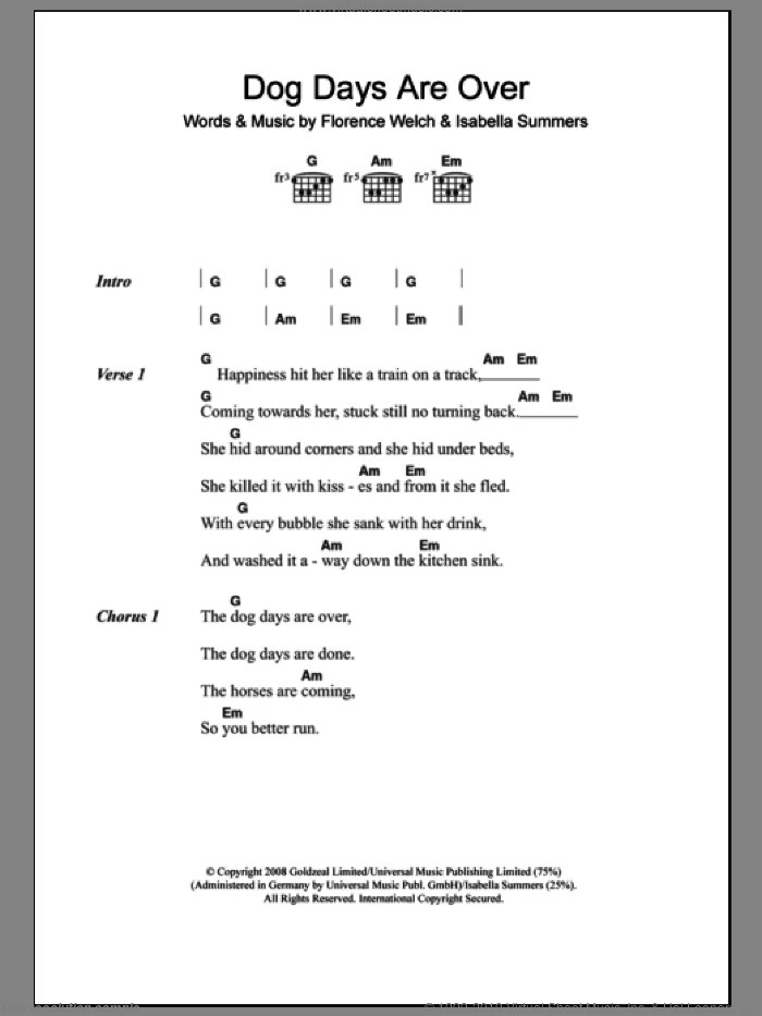 Dog Days Are Over sheet music for guitar (chords) by Isabella Summers and Florence Welch