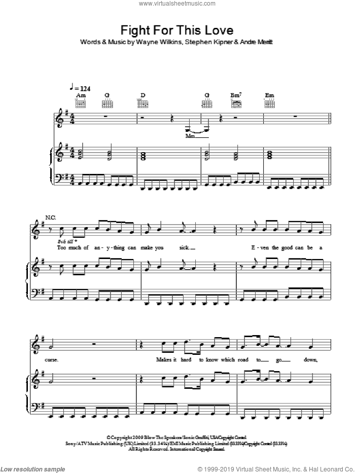 Fight For This Love sheet music for voice, piano or guitar by Cheryl Cole, Andre Merritt, Steve Kipner and Wayne Wilkins, intermediate skill level