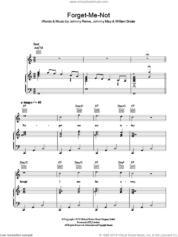Forget-Me-Not sheet music for voice, piano or guitar by Vera Lynn, intermediate. Score Image Preview.