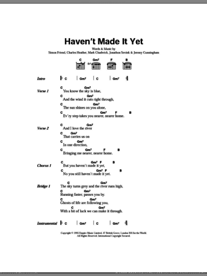 Haven't Made It Yet sheet music for guitar (chords) by Simon Friend