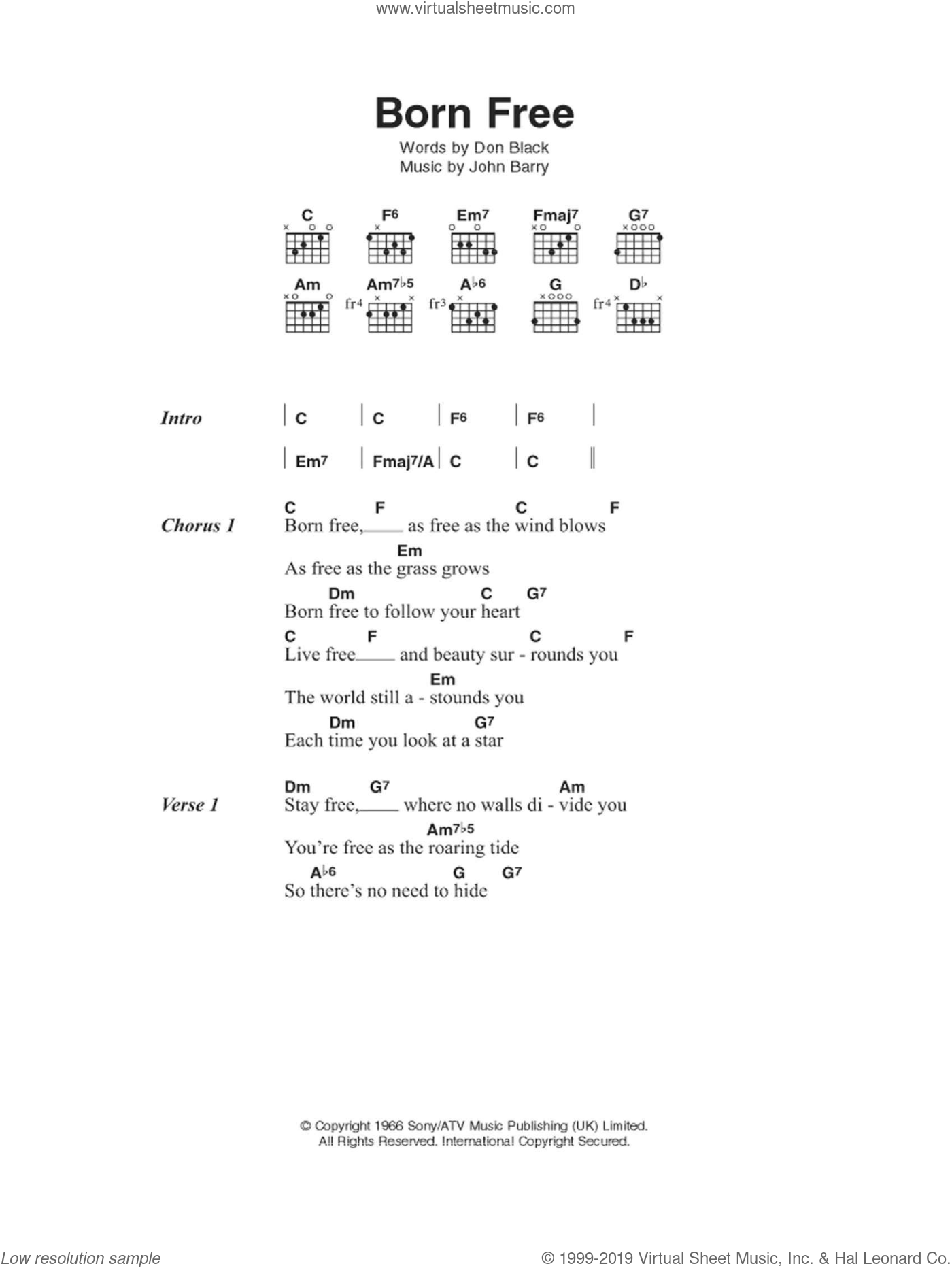 Born Free sheet music for guitar (chords) by Matt Monro, Don Black and John Barry, intermediate guitar (chords). Score Image Preview.