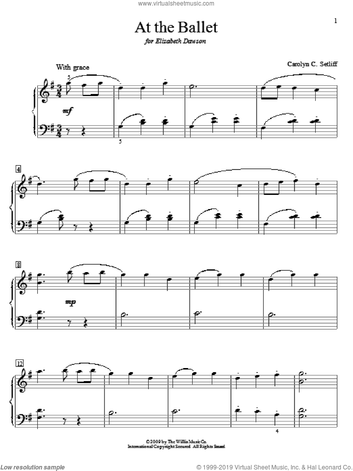 At The Ballet sheet music for piano solo (elementary) by Carolyn C. Setliff, beginner piano (elementary)
