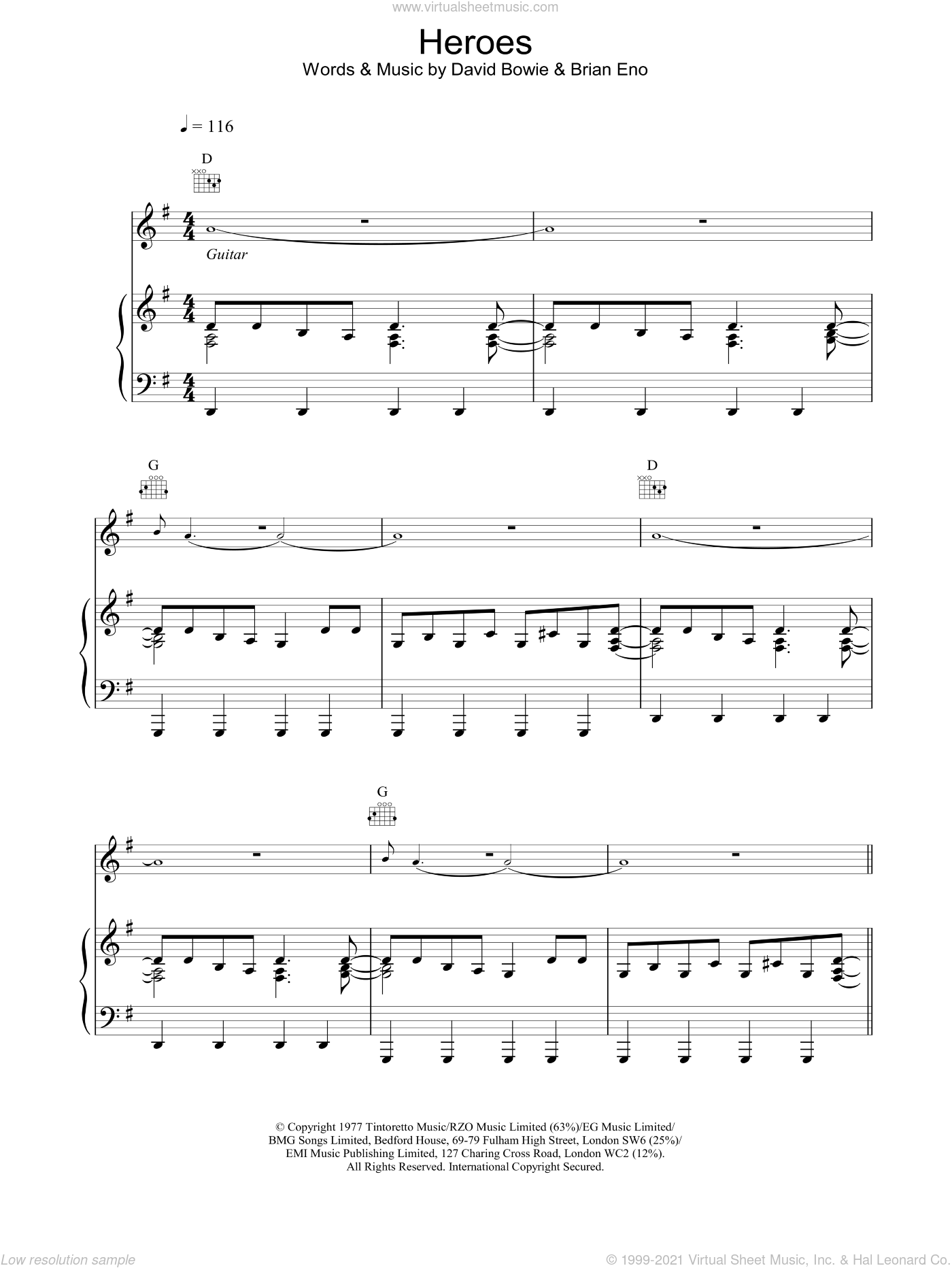 Heroes sheet music for voice, piano or guitar by David Bowie, intermediate skill level